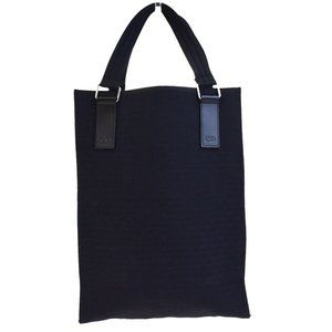 DIOR HOMME Logos Hand Tote Bag Canvas Leather Blac